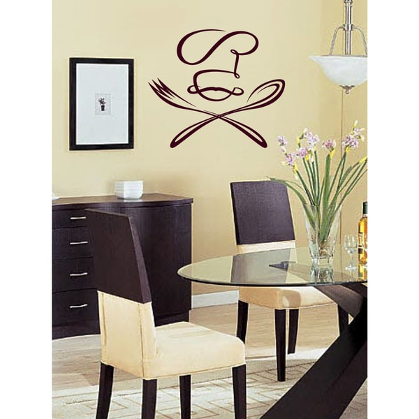 spoon fork and cook wall art sticker decal red overstock