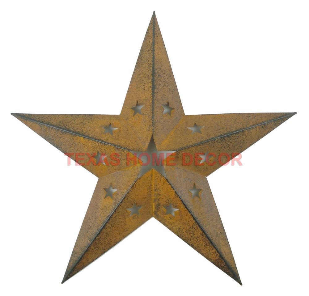 western primitive punched barn star tin metal wall dcor