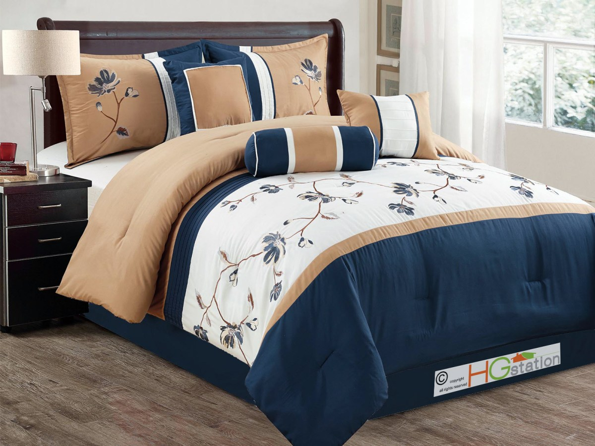 7 pc floral vine blossom embroidery pleated comforter set