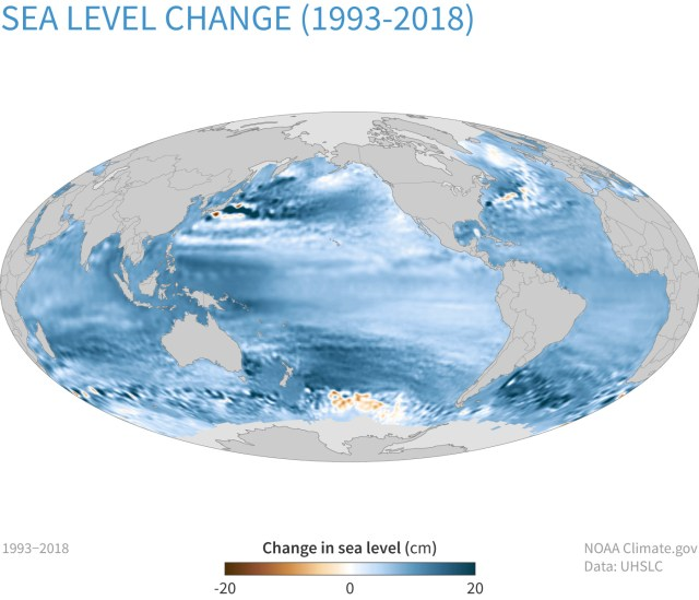 Map of global sea level change between 1993 and 2018, with increases shown in shades of blue, and decreases shown in shades of brown. {focus_keyword} Reporting on the State of the Climate in 2018 ClimateDashboard sea levels map change 2018 1400px