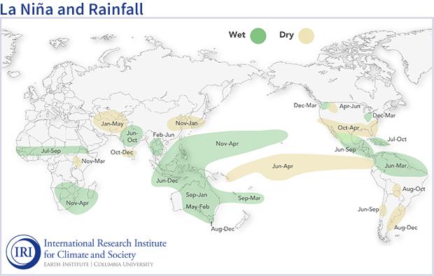 Global map showing typical seasonal climate impacts of La Niña