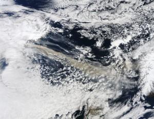 Nube di cenere che dall'Islanda si estende verso il Nord Europa - Image courtesy of NASA