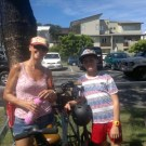 Mum & son cycling to Belach