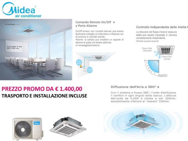 """MONOSPLIT A """"CASSETTA""""  12000 BTU POMPA DI CALORE INVERTER R410A  A PARTIRE DA € 1.400,00 INSTALLAZIONE GRATIS"""