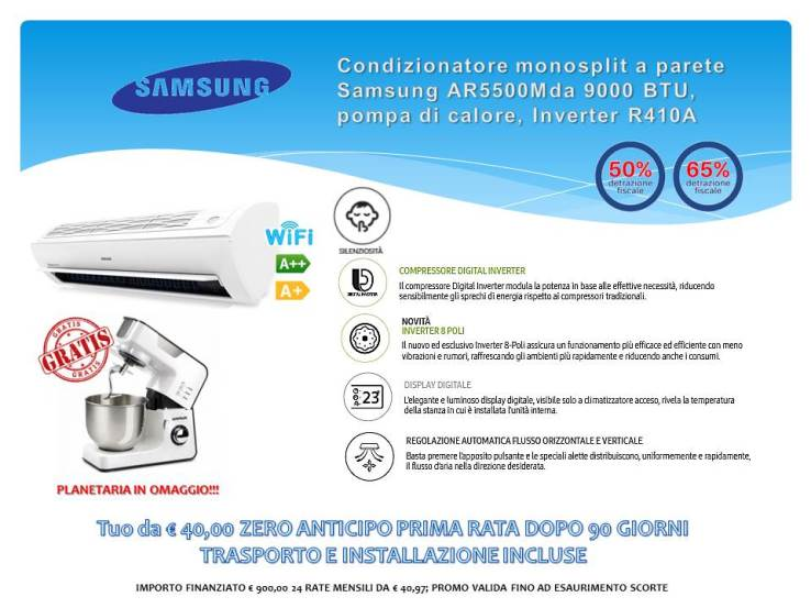 CONDIZIONATORE MONOSPLIT A PARETE 9000 BTU SAMSUNG AR5500M € 900,00 INSTALLAZIONE INCLUSA