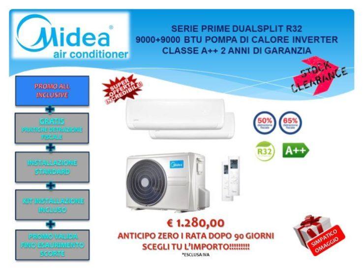 CONDIZIONATORE DUALSPLIT MIDEA PRIME 9000+9000 BTU R32 INVERTER € 1.280,00 INSTALLAZIONE INCLUSA