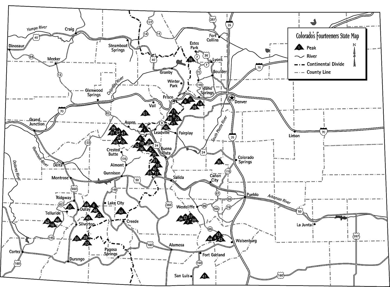 Top Colorado 13ers Map Photos