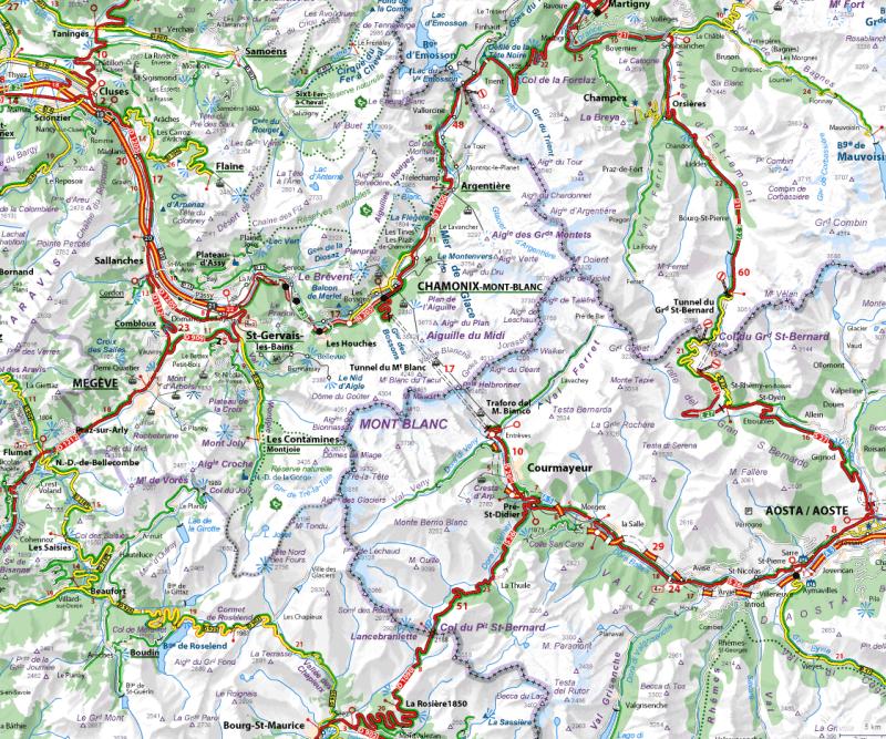 Tour de Mont Blanc map