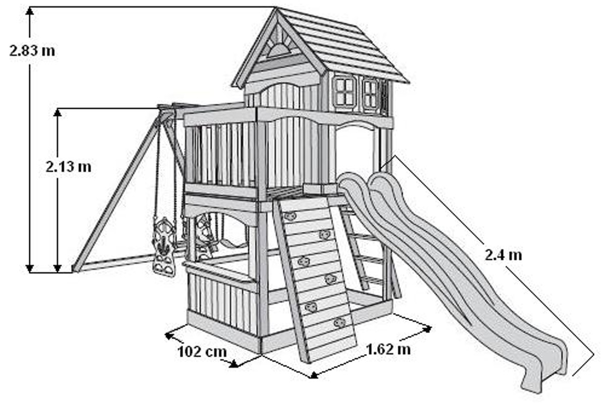 Atlantic Climbing Frame Slide With Slide Swings And Rock Wall