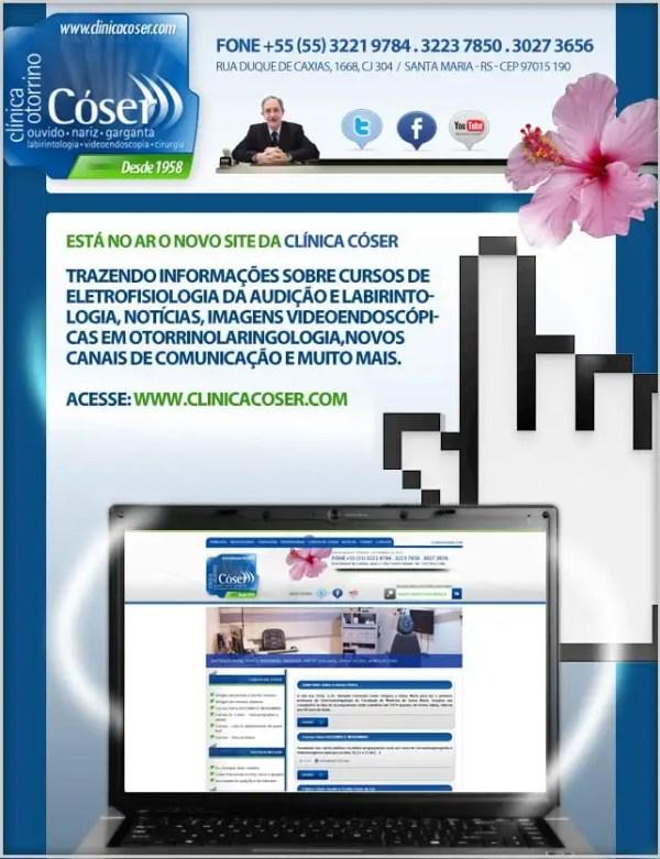 Newsletter de divulgação do novo site da Clínica Cóser