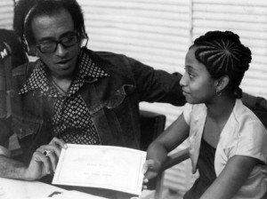 Nadine Sutherland, at 13, being interviewed by Neville Willoughby