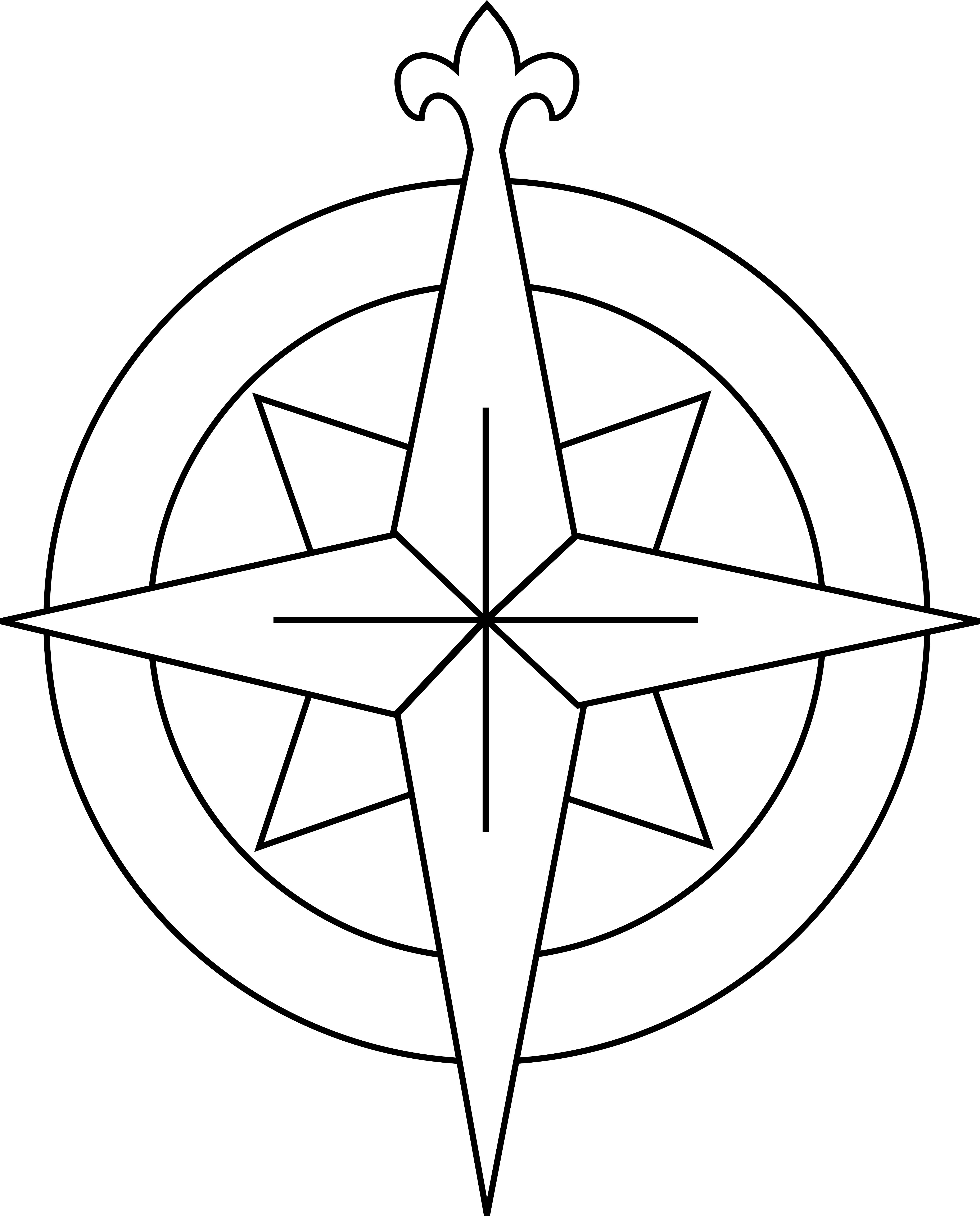 Compass Rose Black And White