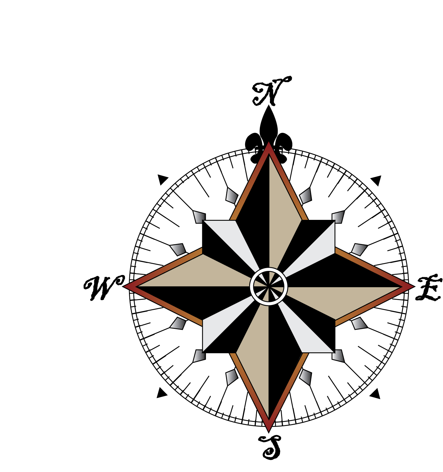 Old Map Compass Rose