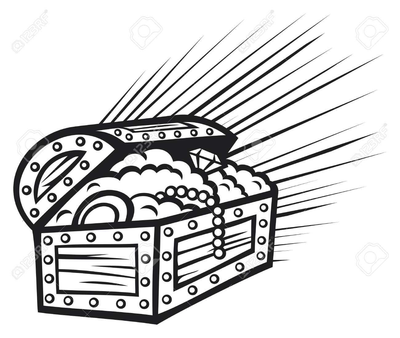 Treasure Chest Clipart Black And White