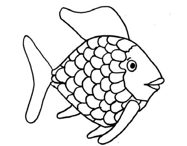 Rainbow Fish Coloring Page Template - Kids Coloring Pages