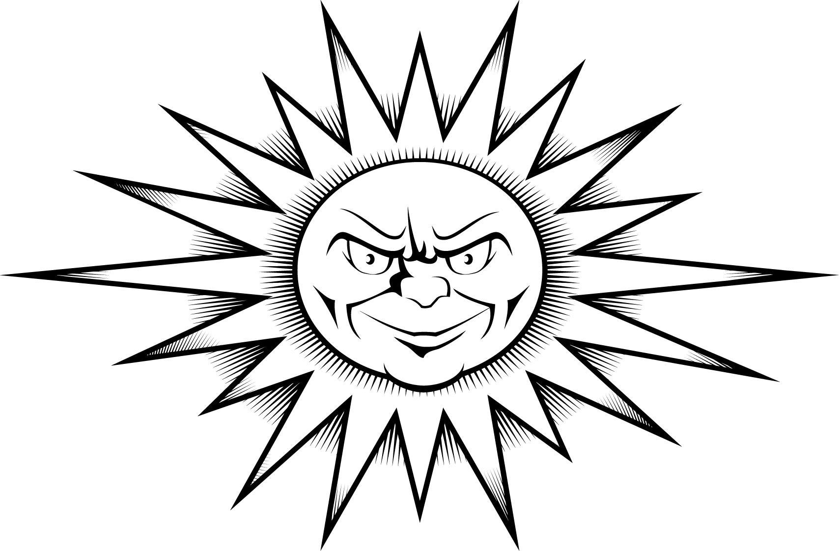 Worksheet Of A Sun Tattoo Design Printable