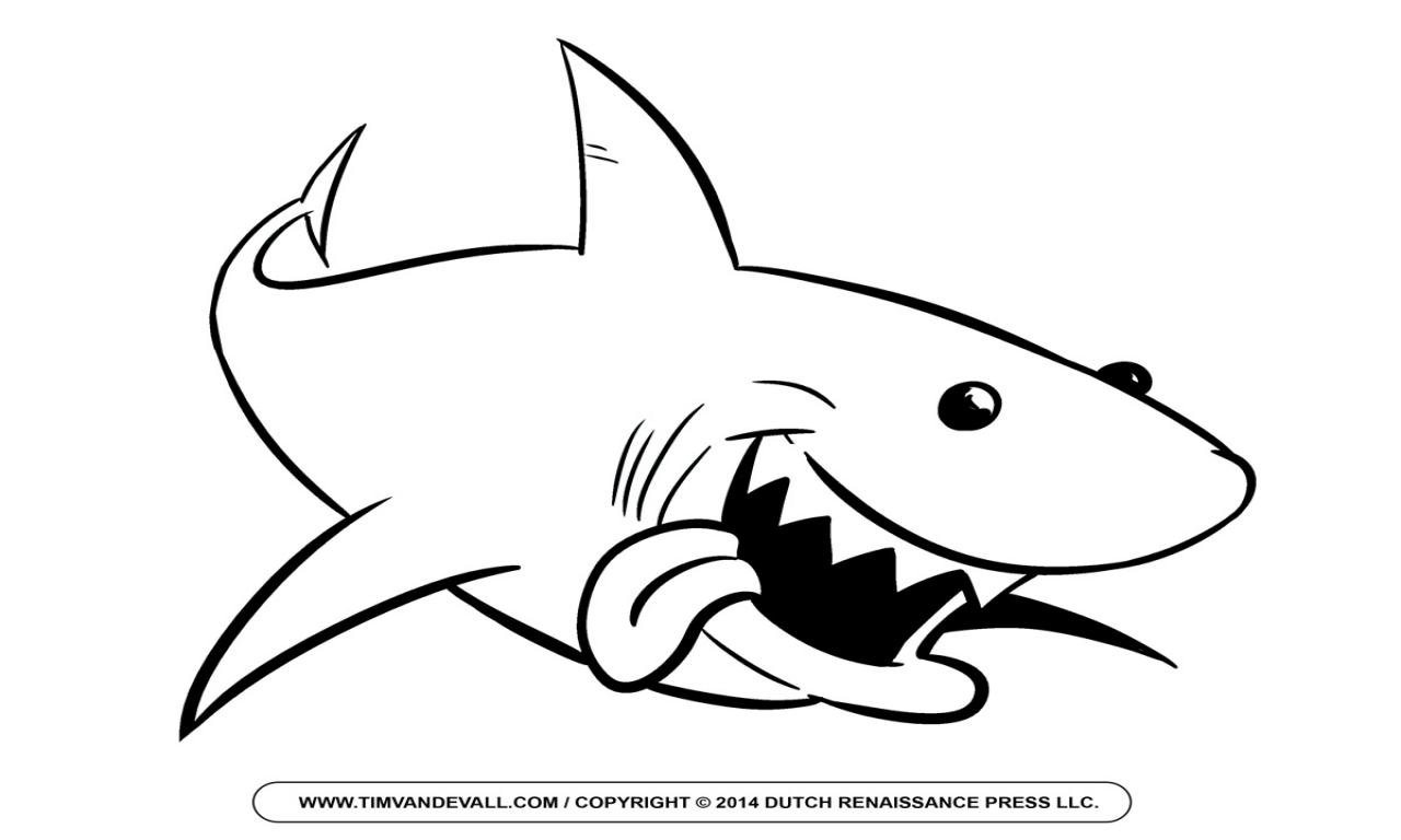Black And White Clipart Of A Shark