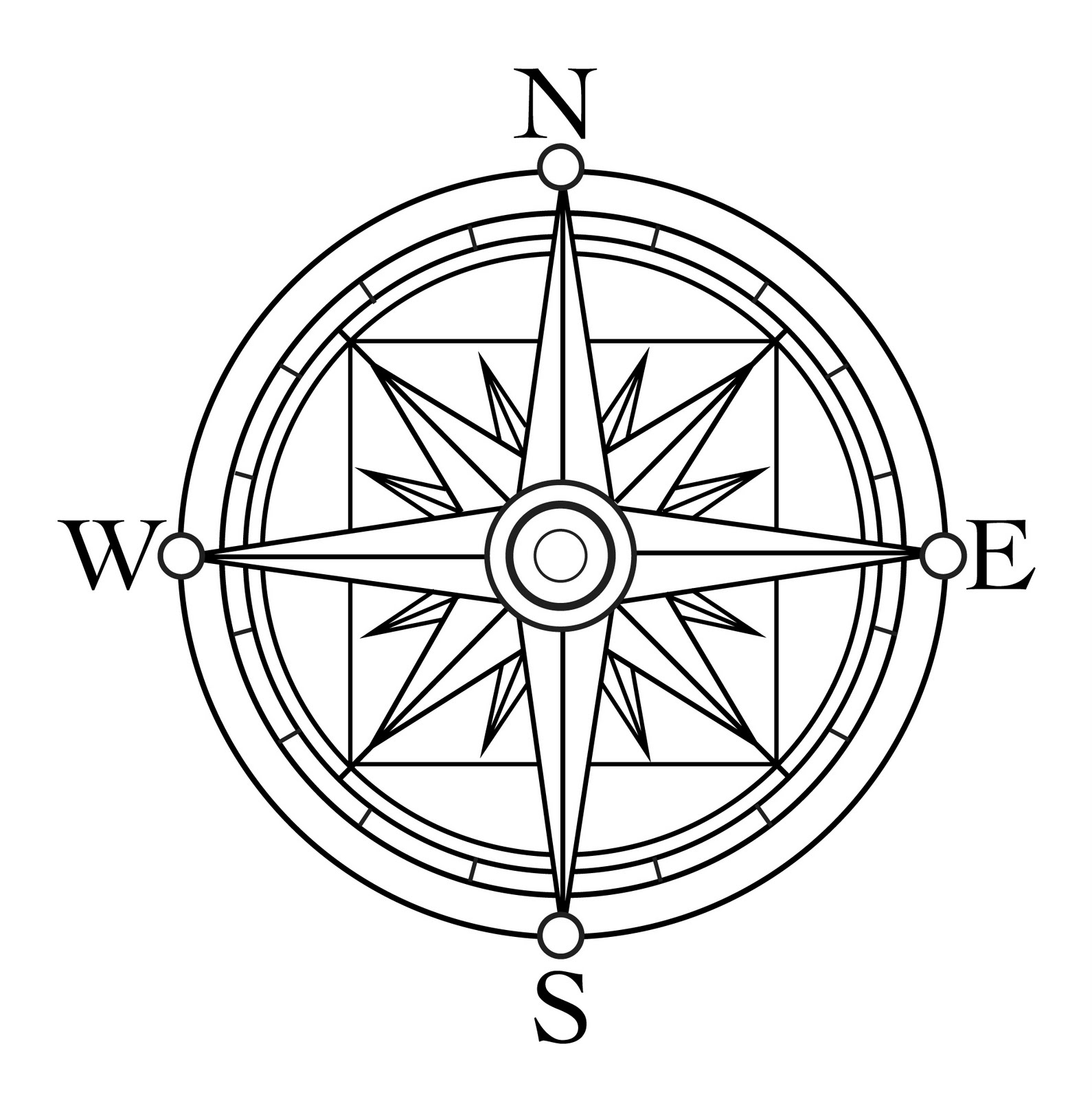 Simple To Draw Compass Cardinal Points