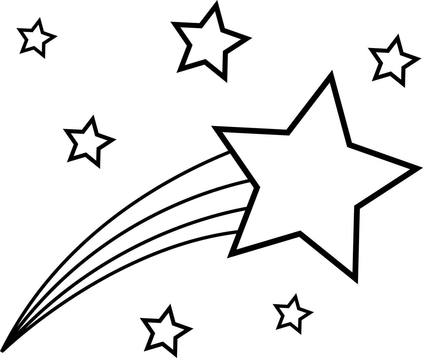 Shooting Star Clipart Black And White