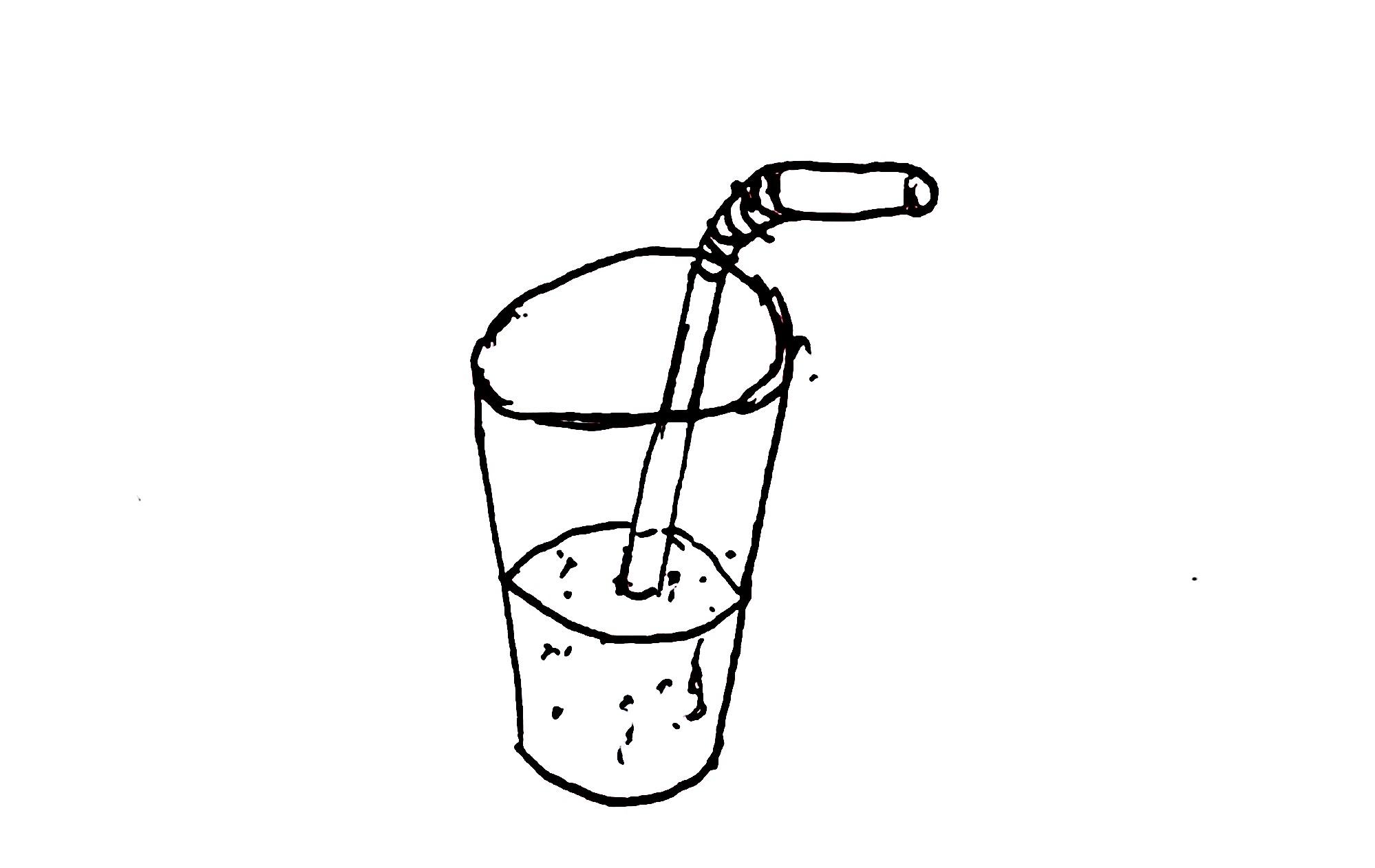 Cartoon Lemonade With Straw