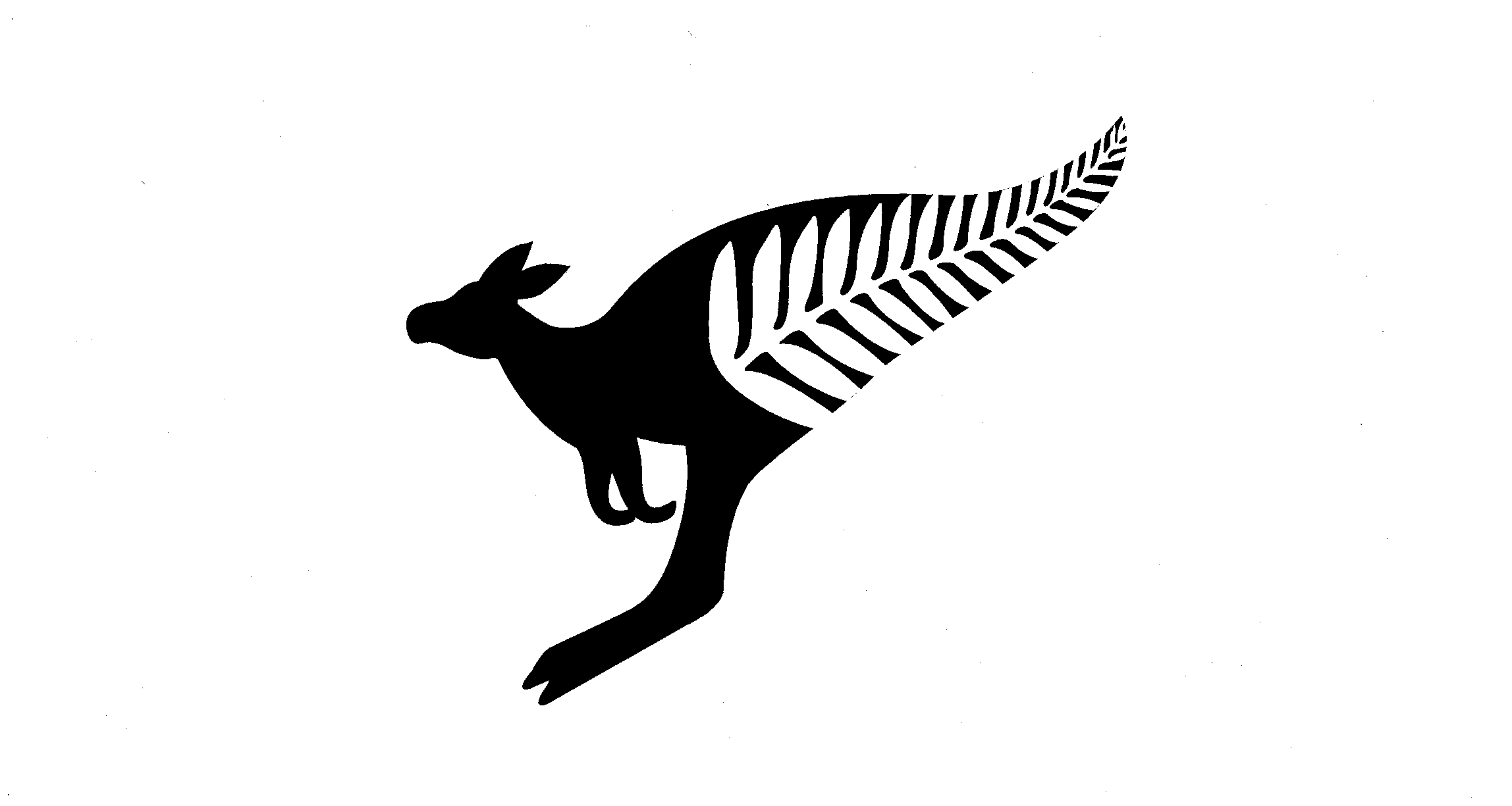 Fern Leaf Forms Tail Of Kangaroo Silhouette By Cazna