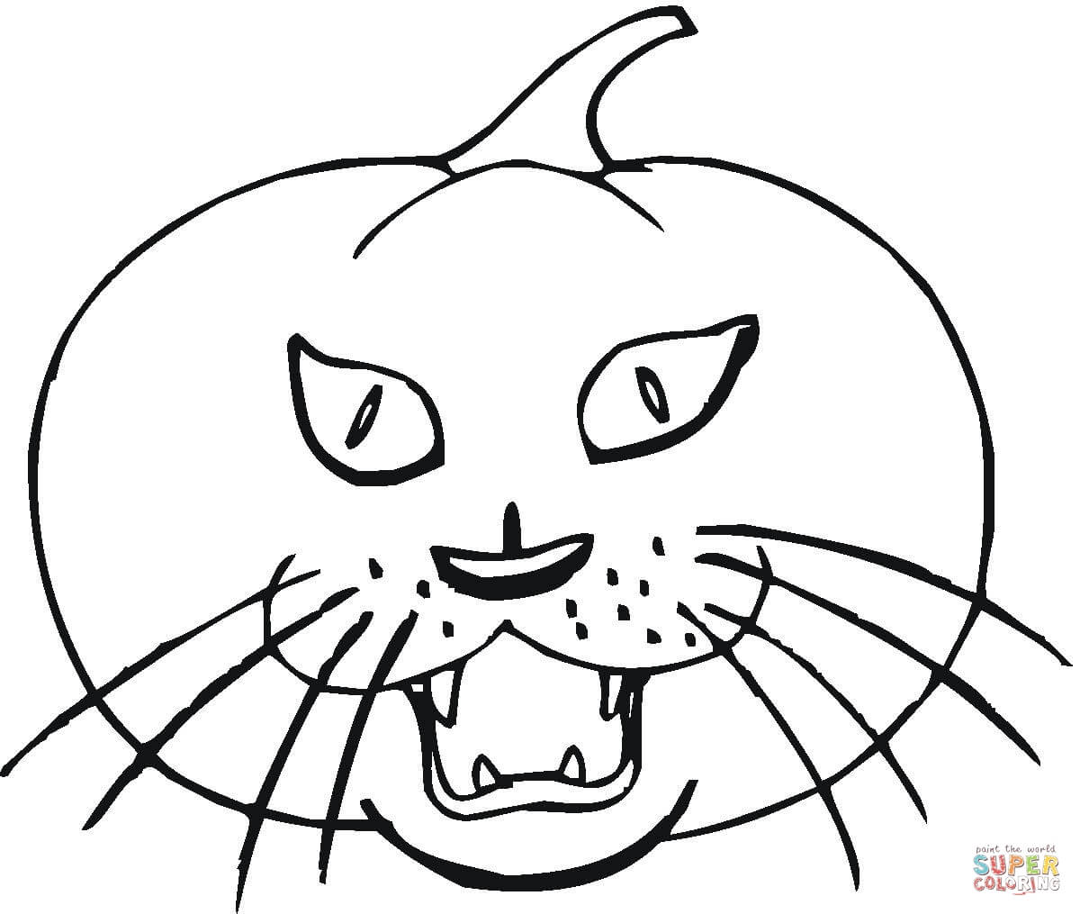 Halloween Cat On Pumpkin Near Tombstone Coloring Page