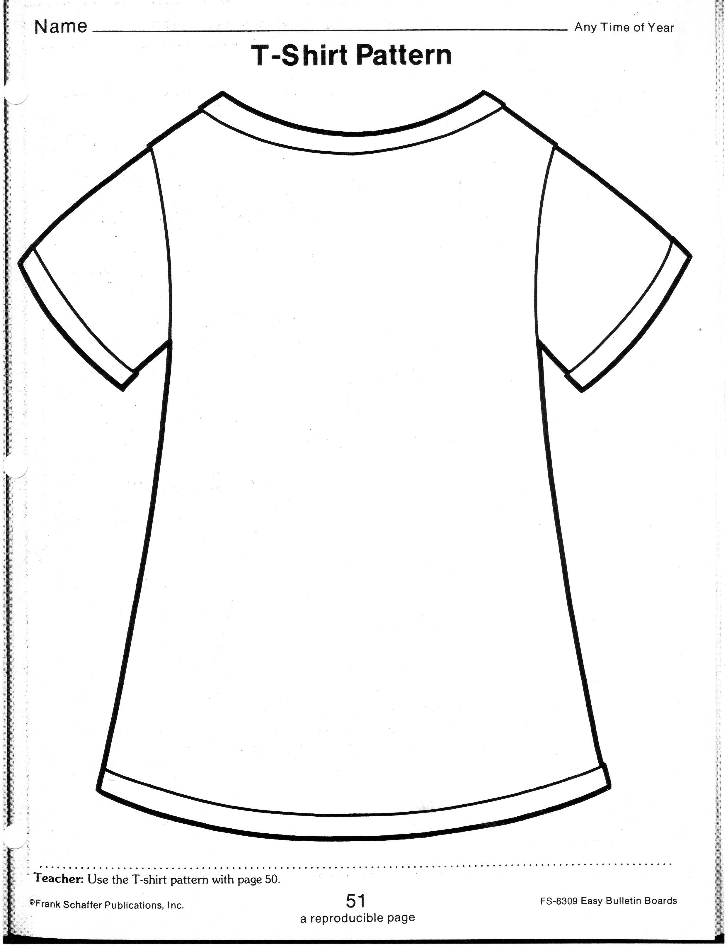 Printable T Shirt Template For Kids