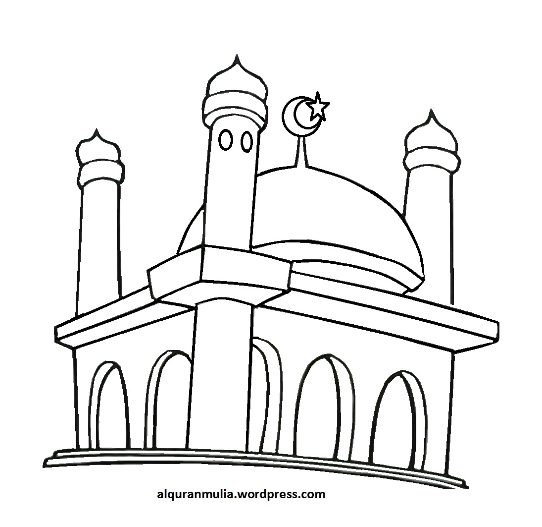 Hitam Gambar Putih Kartun Masjid