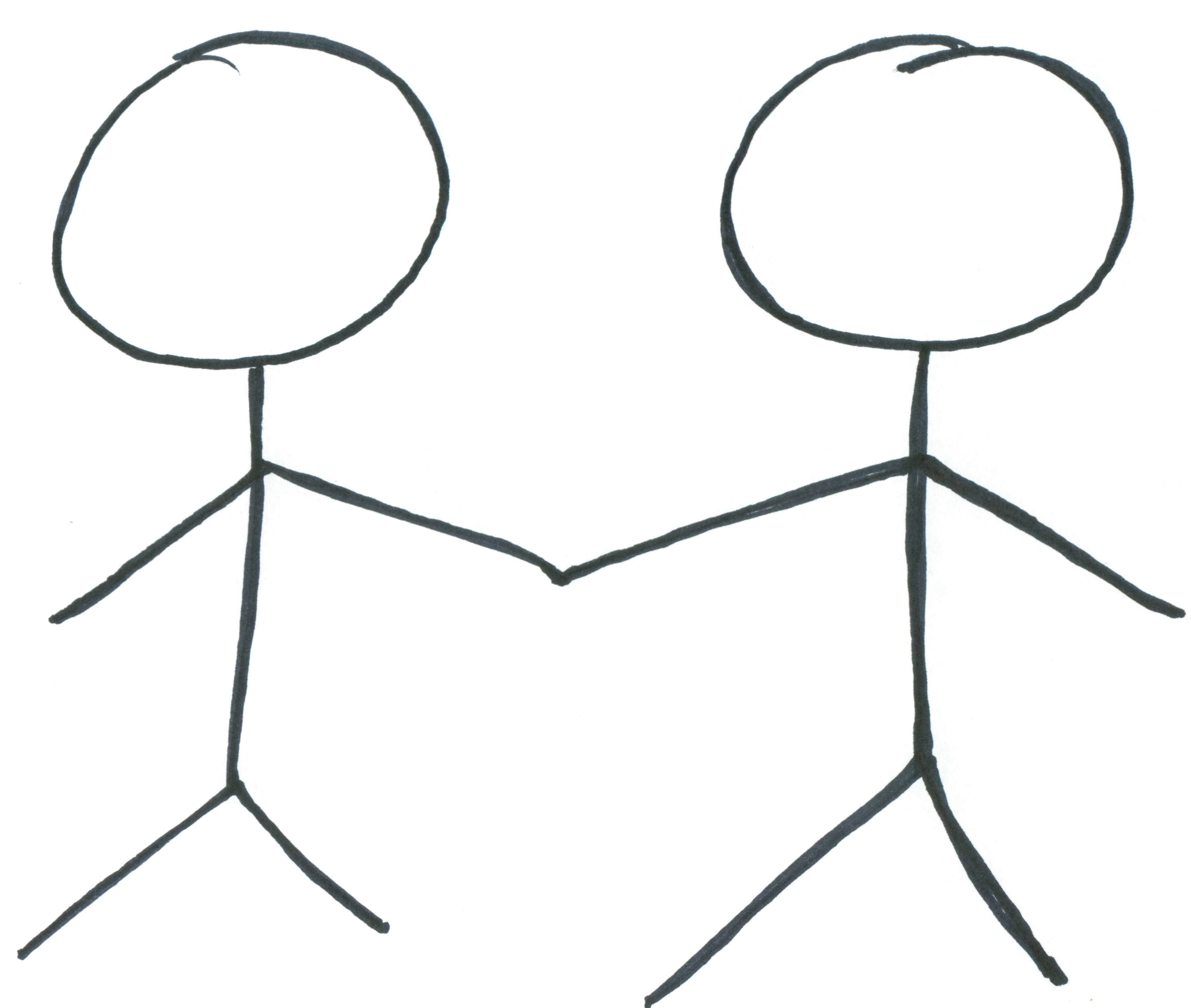 Two Stick Figures Holding Hands