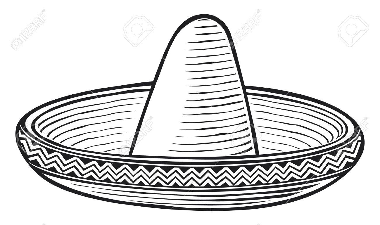 Sombrero Clip Art Black And White