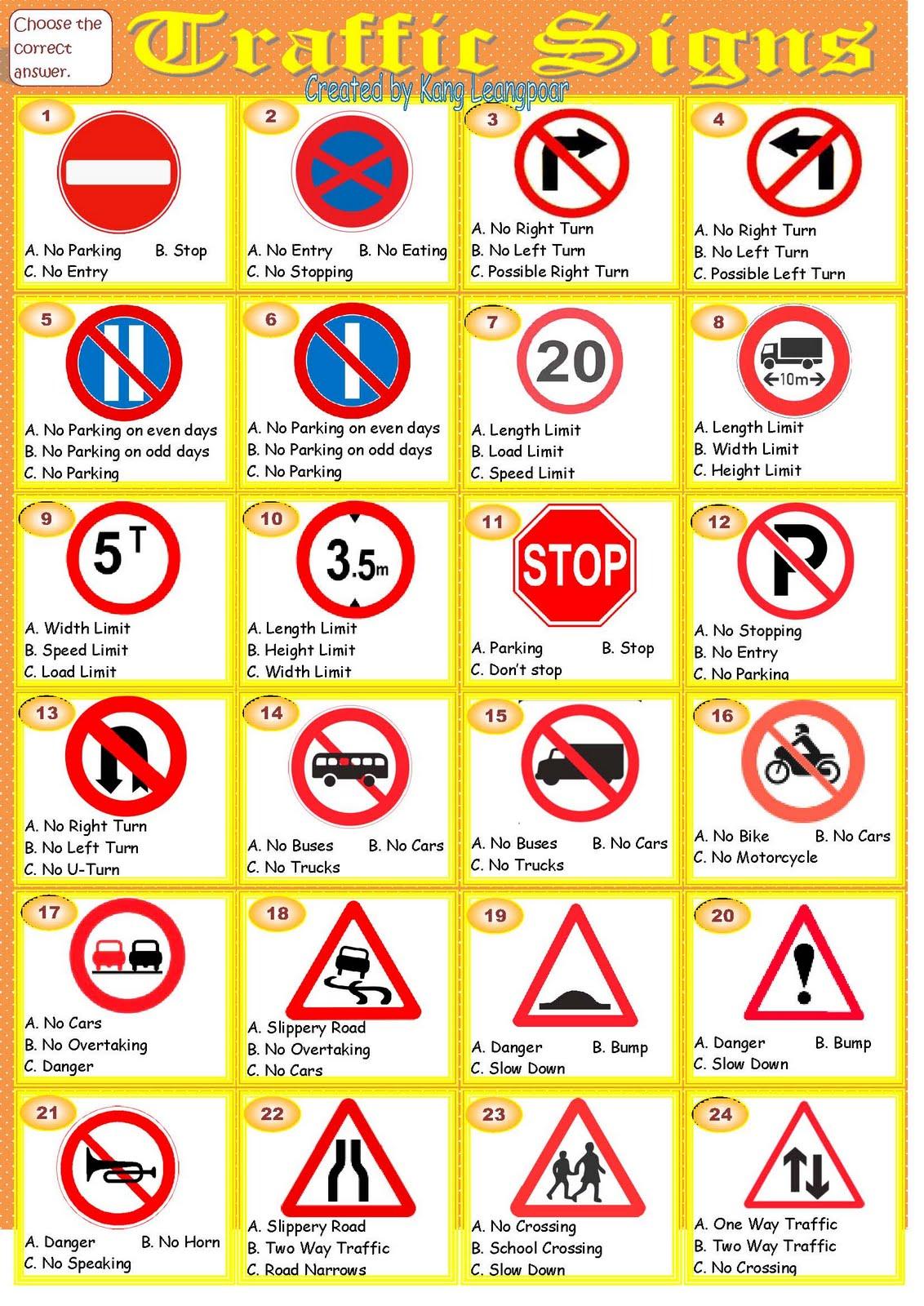 Traffic Rules Worksheet