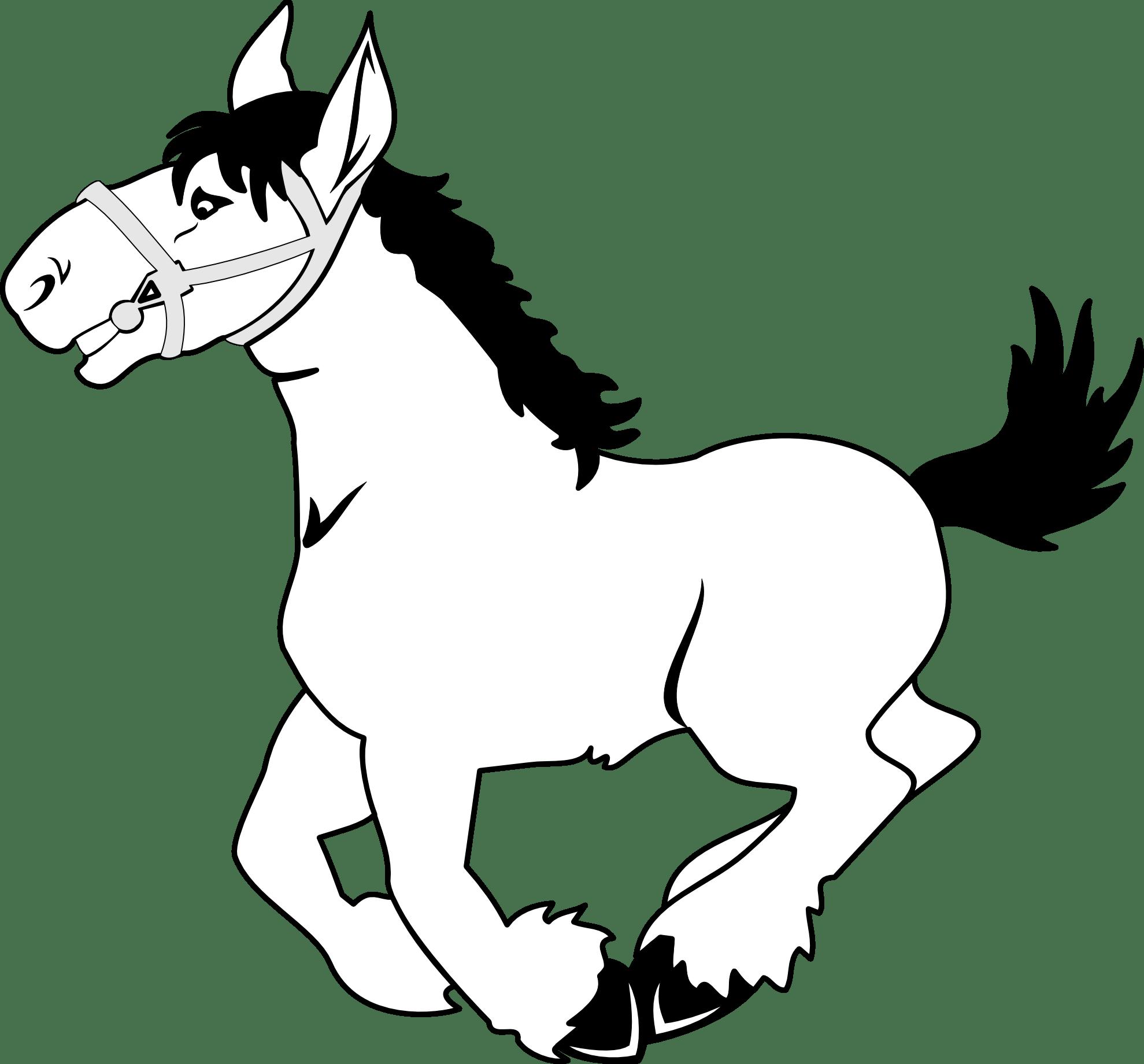 Artfavor Horse 3 Black White Line Art Scalable