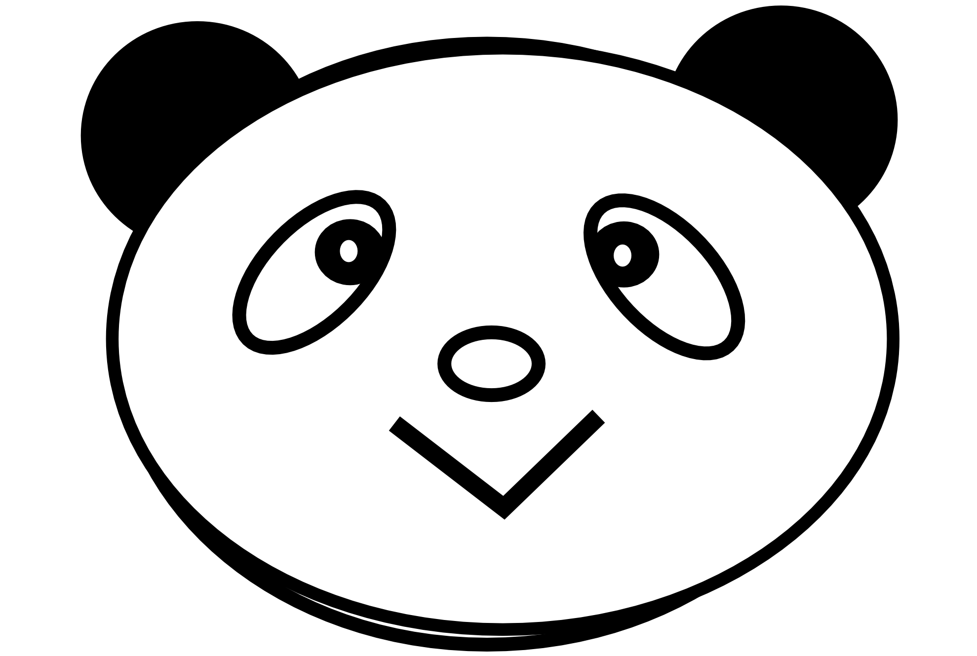 Panda Love Black White Line Teddy Bear Animal Art Coloring