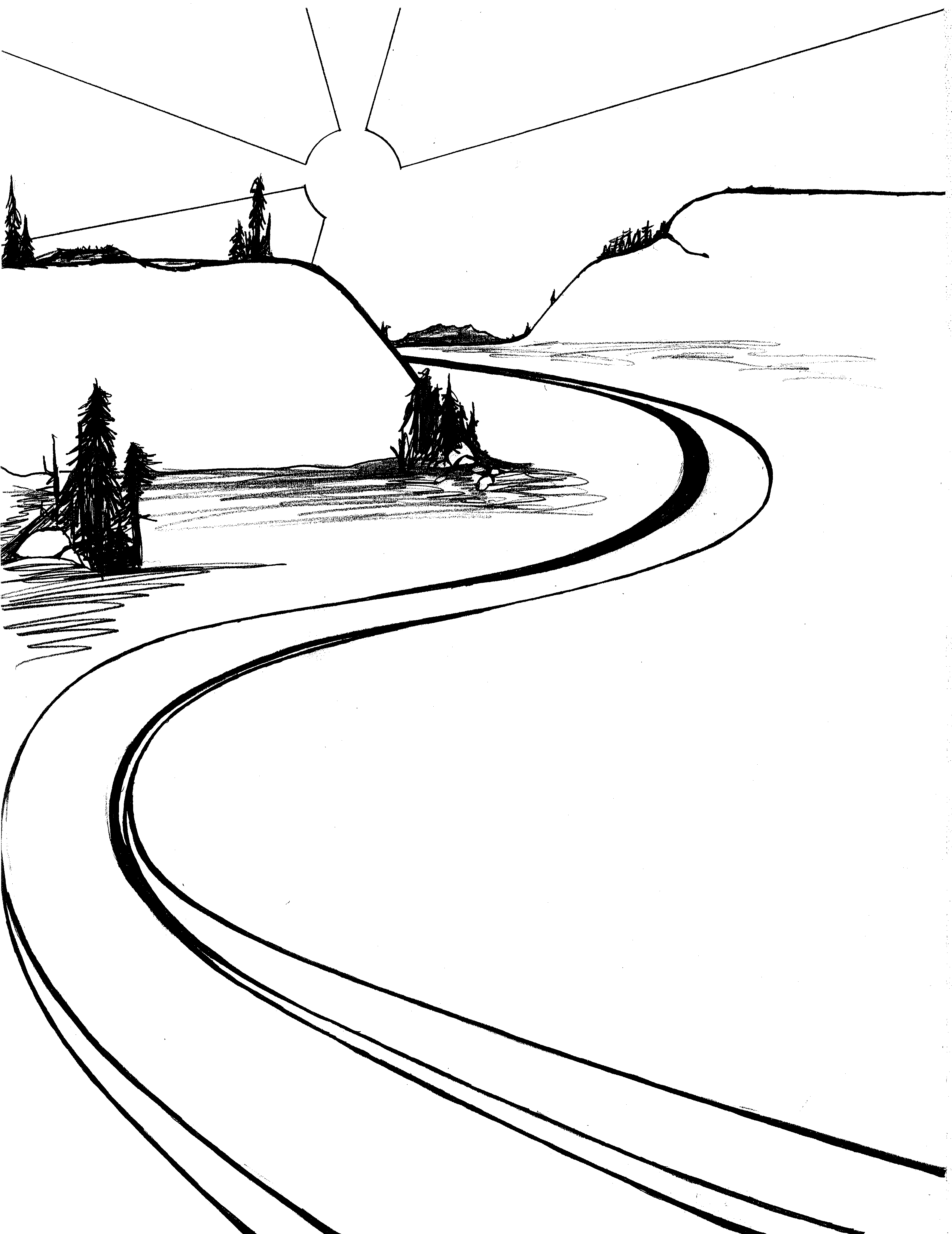 Road Black And White Clipart