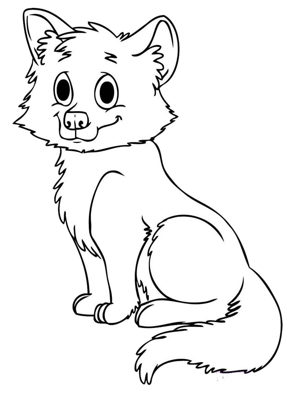 Cute Colouring Pages Baby Wolf