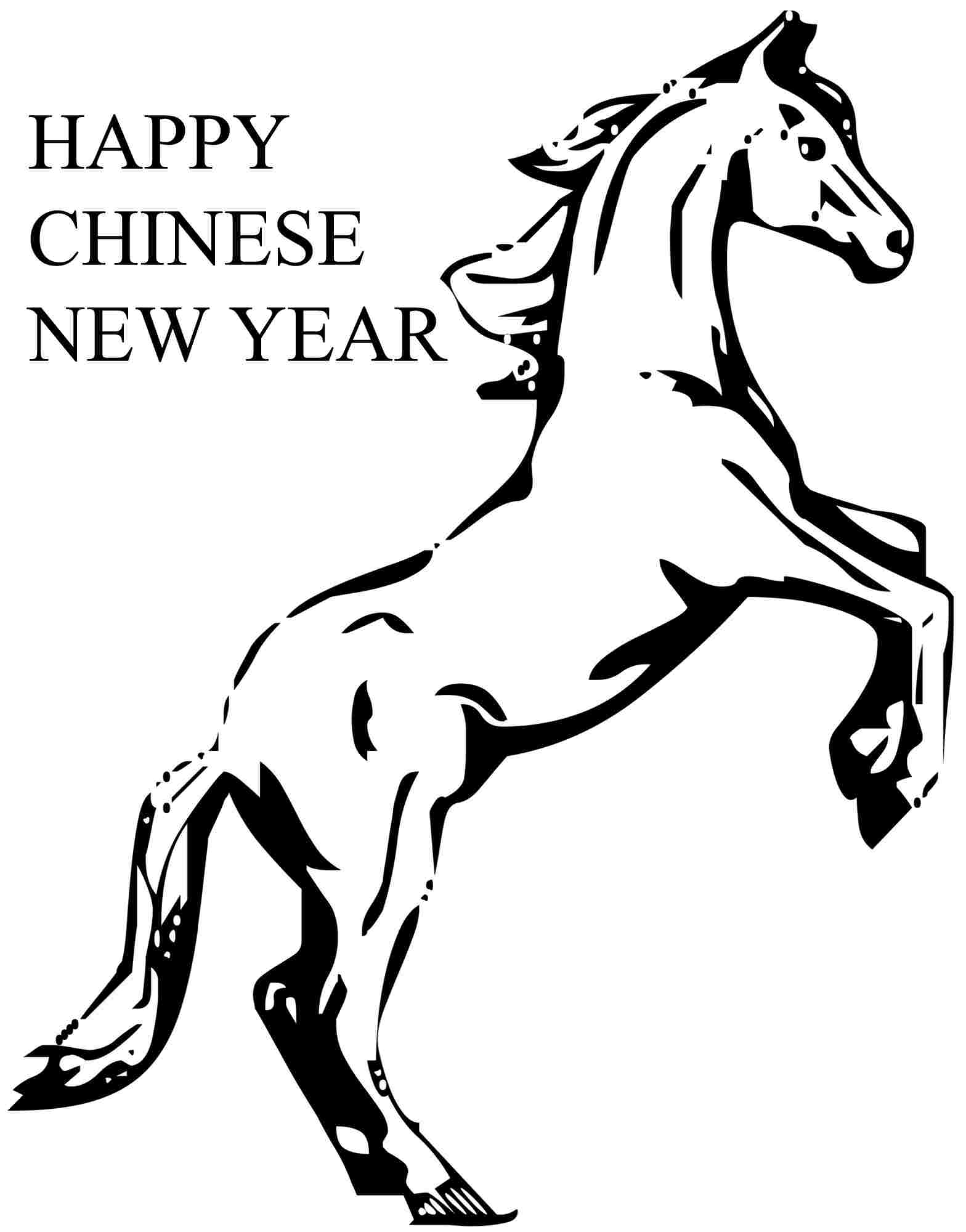 Wooden Horse Chinese New Year Colouring Pages Printable Free