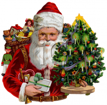 "This ""victorian santa with toys and a small christmas tree"" clipart image is"