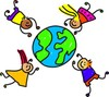 Diverse kids from around the world floating around the planet Earth clipart