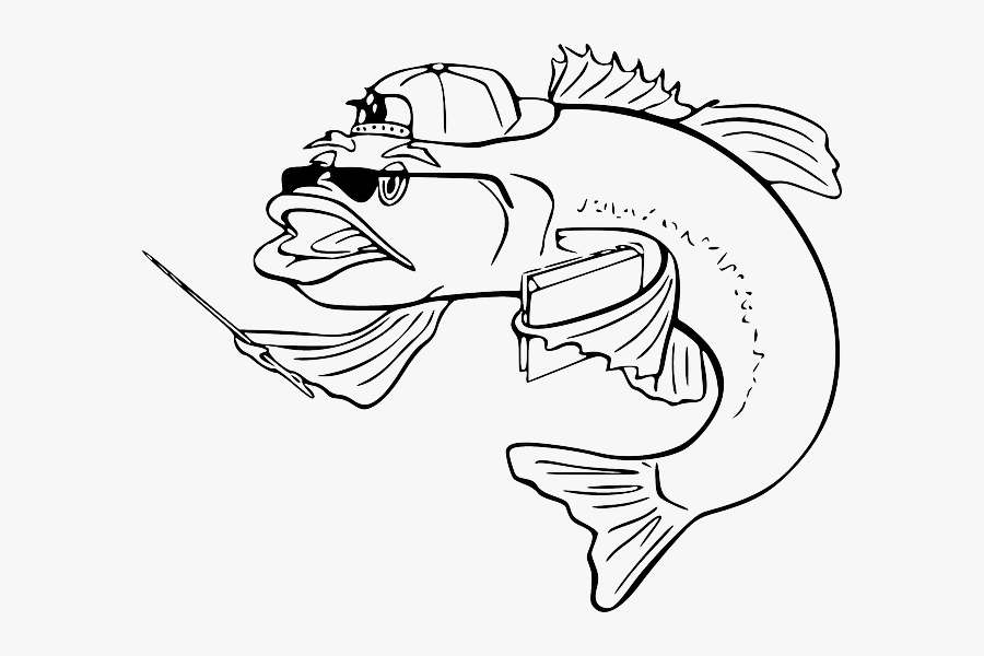 Black Teacher Outline White Cartoon Bass Fish Fish Clip Art Free Transparent Clipart Clipartkey
