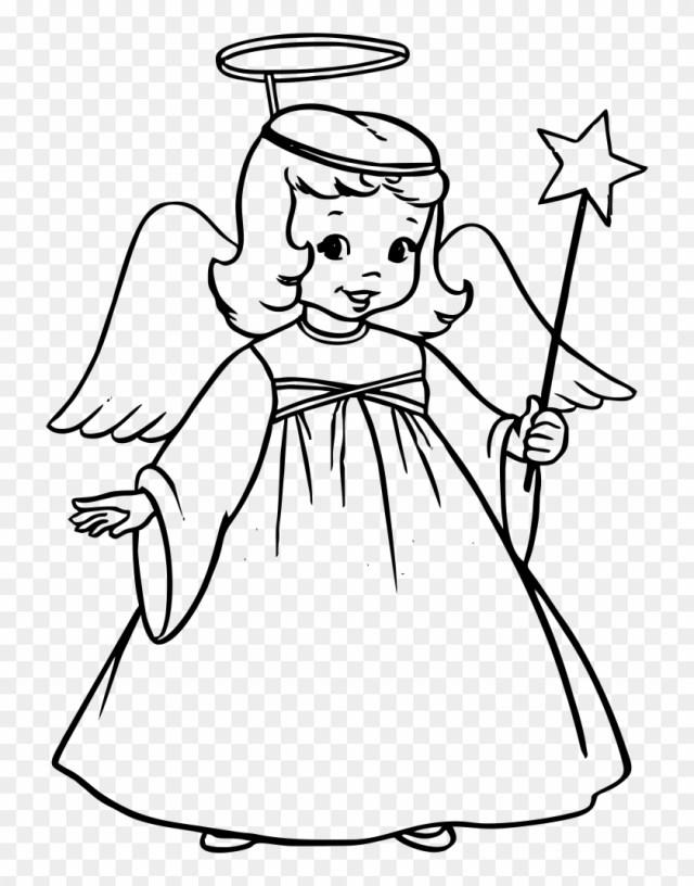 Christmas Angle Drawingangle Drawing - Christmas Angel Coloring