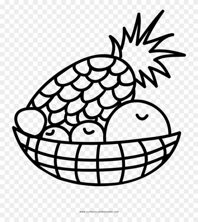Fruit Basket Coloring Page - Drawing - Free Transparent PNG