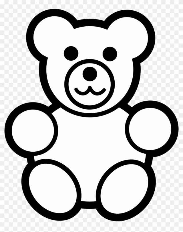 Teddy Bear Clipart Black And White - Teddy Bear Coloring Page