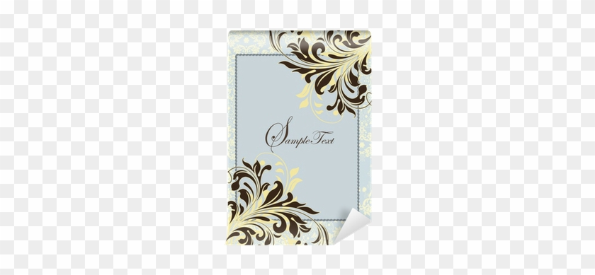 blue vintage invitation card with