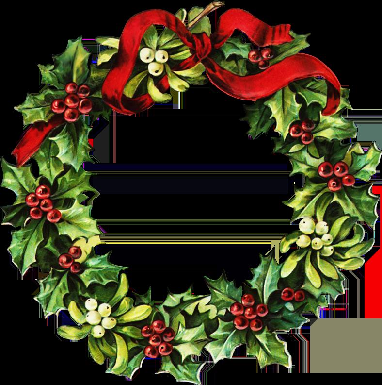 Victorian Christmas Wreath Clipart