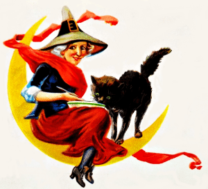 free Vintage witch and black cat clipart