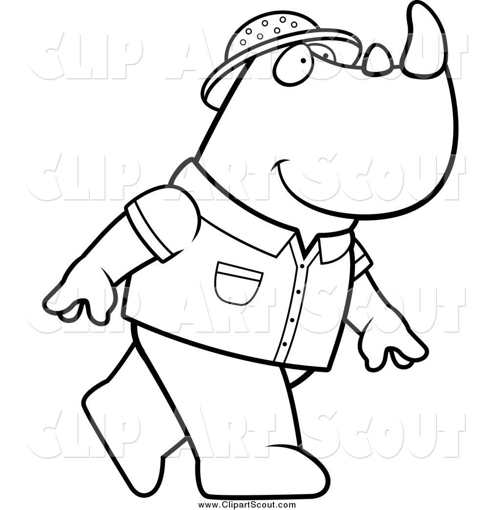 Clipart Of A Black And White Safari Rhino Walking To The
