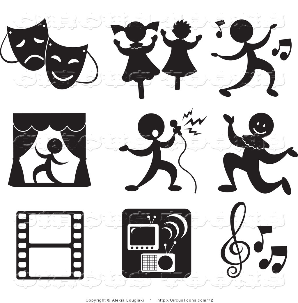 Set Of Nine Music And Entertainment Icons In Black And