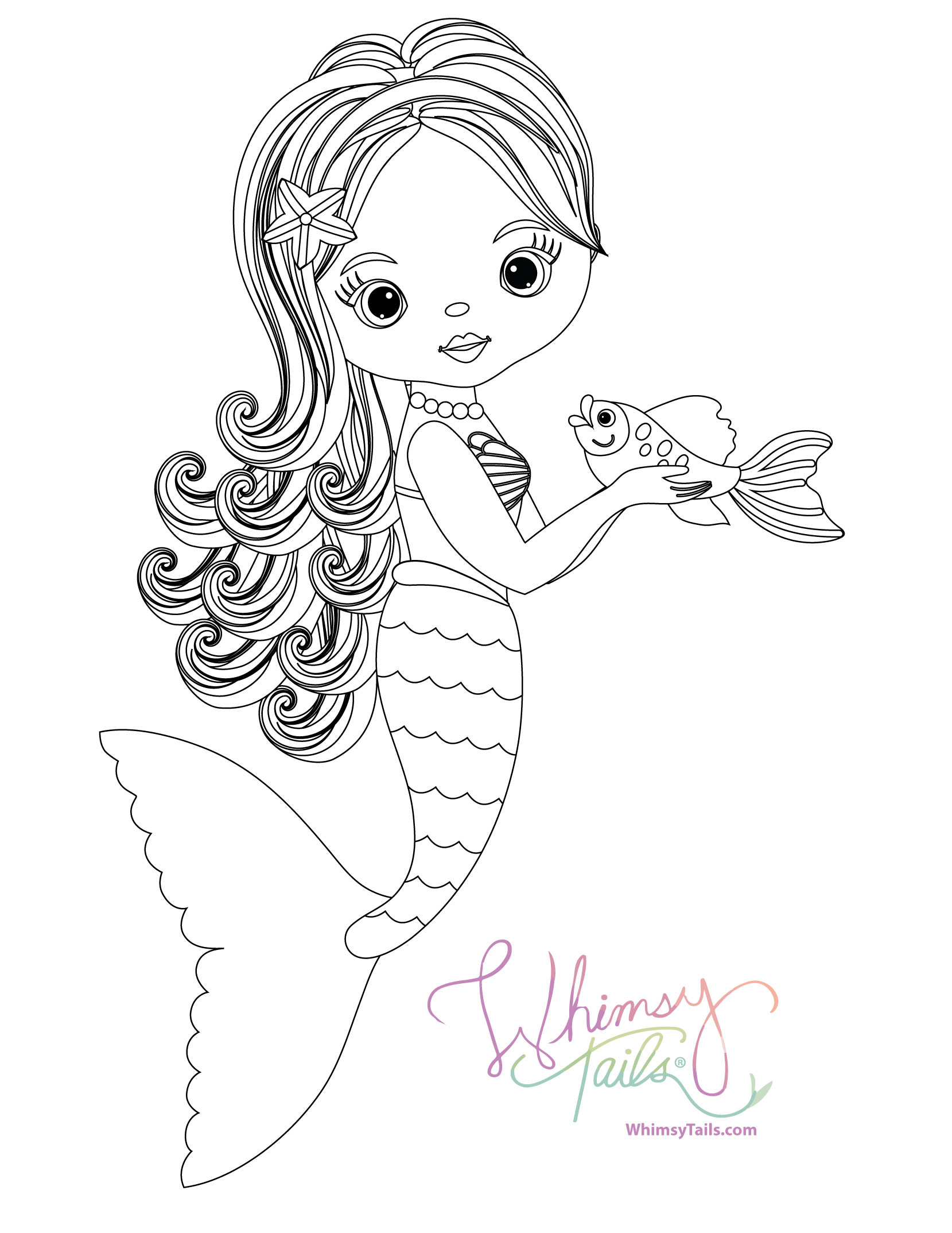 Free Coloring Pages Whimsy Tails Mermaid And Shark Blankets
