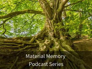 Modal box: Material Memory Podcast Series. Background image: Old tree with green leaves and large roots.