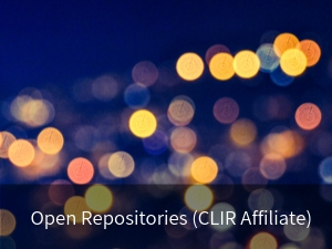 Modal box: Open Repositories (CLIR Affiliate). Background image: decorative out of focus yellow lights at night.